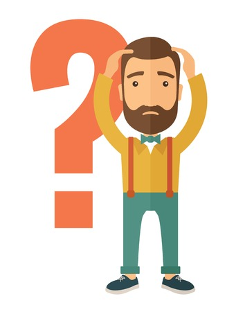 cartoon human: A businessman with a problem standing scratching his head with question marks beside him. A contemporary style. Vector flat design illustration with isolated white background. Vertical layout. Illustration