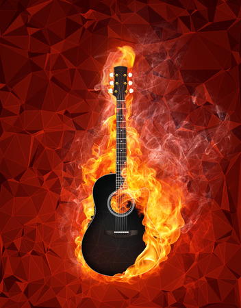 music background: Acoustic - Electric Guitar in fire on polygon background Stock Photo