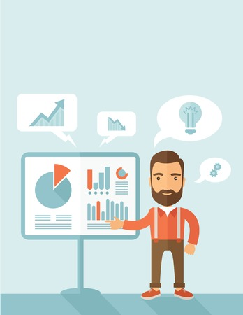 A manager reporting and presenting the show graphs as his m,arketing report on tripod stand inside conference room. Reporting concept. A contemporary style with pastel palette, soft blue tinted background. Vector flat design illustration. Vertical layout