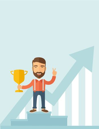 rewarded: A Caucasian businessman proudly standing on the winning podium holding up winning trophy and showing an arrow pointing upward as his success. Winner concept. A contemporary style with pastel palette, soft blue tinted background. Vector flat design illustr Illustration