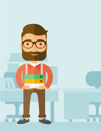 happy employee: Stressful but happy employee standing in office carrying his finished file report ready to submit to his superior. Busy concept. A contemporary style with pastel palette, soft blue tinted background. Vector flat design illustration. Vertical layout with t