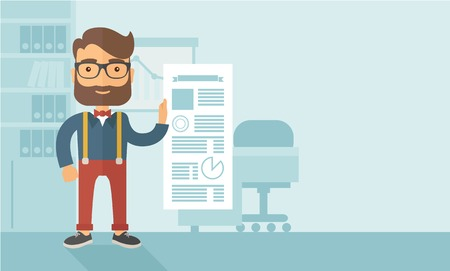 A Caucasian man happy standing inside his office  showing his complete paper works report on time. Achievemnet concept. A contemporary style with pastel palette, soft blue tinted background. Vector flat design illustration. Horizontal layout with text spa