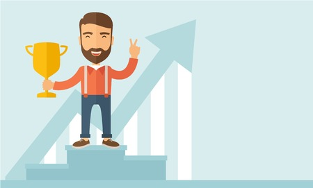 rewarded: A Caucasian businessman proudly standing on the winning podium holding up winning trophy and showing an arrow pointing upward as his success. Winner concept.  A contemporary style with pastel palette, soft blue tinted background. Vector flat design illust