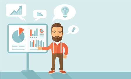 A manager reporting and presenting the show graphs as his m,arketing report on tripod stand inside conference room. Reporting concept. A contemporary style with pastel palette, soft blue tinted background. Vector flat design illustration. Horizontal layou