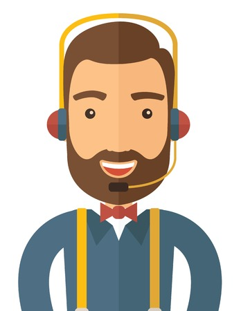 An operator man with headset customer service helpdesk service. Call center concept. A contemporary style. Vector flat design illustration with isolated white background. Vertical layout. 矢量图像