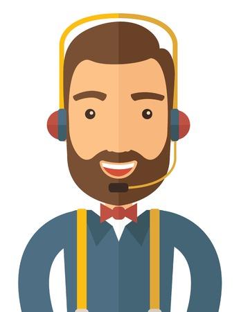 Un homme de l'opérateur avec casque service à la clientèle un service de helpdesk. Appelez notion centre. Un style contemporain. Vector design plat illustration sur fond blanc isolé. Présentation verticale. Illustration