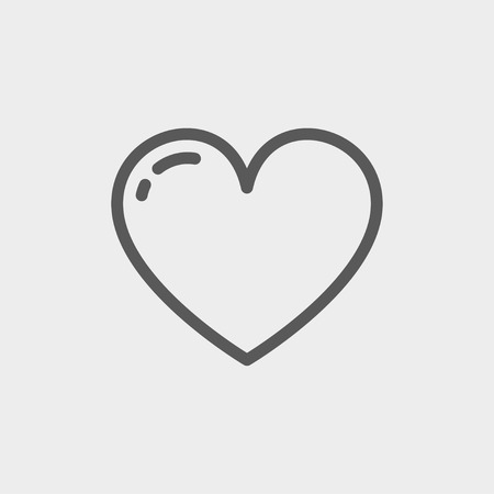Heart icon thin line for web and mobile, modern minimalistic flat design. Vector dark grey icon on light grey background. Illustration