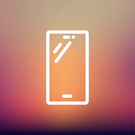 cellphone in hand: Smartphone icon thin line for web and mobile, modern minimalistic flat design. Vector white icon on gradient mesh background.