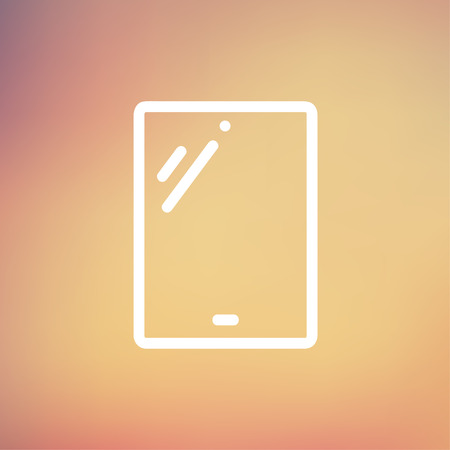Touch screen tablet icon thin line for web and mobile, modern minimalistic falt design. Vector white icon on gradient mesh background.