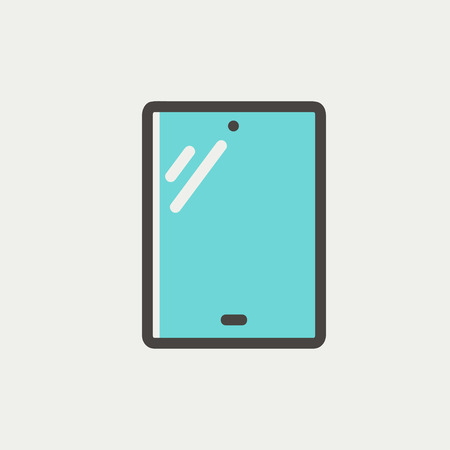 Touch screen tablet icon thin line for web and mobile, modern minimalistic flat dersign. Vector icon with dark grey outline and offset colour on light grey background. Illustration