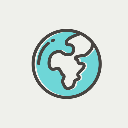 flat earth: Modern globe icon thin line for web and mobile, modern minimalistic flat dersign. Vector icon with dark grey outline and offset colour on light grey background. Illustration