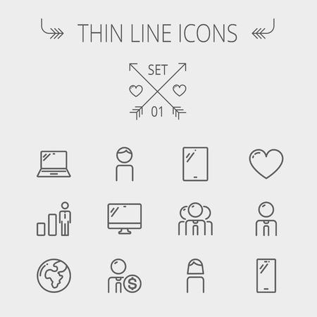 Technology thin line icon set for web and mobile. Set includes - laptop, tablet, computer, globe, man, woman, heart, statistics icons. Modern minimalistic flat design. Vector dark grey icons on light grey background.