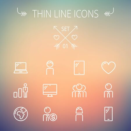 Technology thin line icon set for web and mobile. Set includes - laptop, tablet, computer, globe, man, woman, heart, statistics icons. Modern minimalistic flat design. Vector white icons on gradient mesh background. 向量圖像