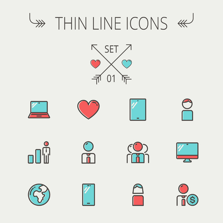 Technology thin line icon set for web and mobile. Set includes - laptop, tablet, computer, globe, man, woman, heart, statistics icons. Modern minimalistic flat design. Vector icons with dark grey outline and offset colour on light grey background.