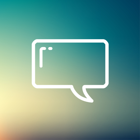 discussion forum: Speech bubble icon thin line for web and mobile, modern minimalistic flat design. Vector white icon on gradient  mesh background.