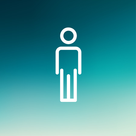 standing in line: Man standing icon thin line for web and mobile, modern minimalistic flat design. Vector white icon on gradient  mesh background.