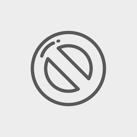 illegal zone: Not allowed icon thin line for web and mobile, modern minimalistic flat design. Vector dark grey icon on light grey background.