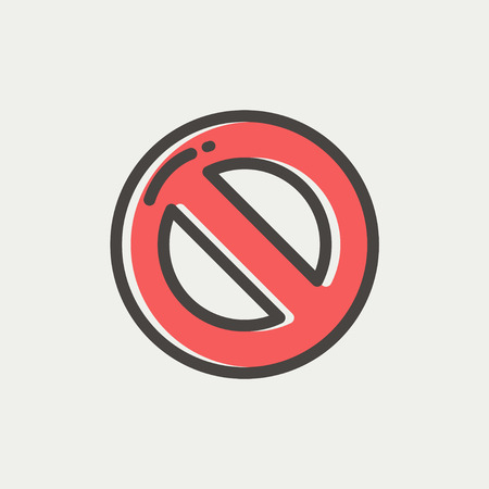 illegal zone: Not allowed icon thin line for web and mobile, modern minimalistic flat dersign. Vector icon with dark grey outline and offset colour on light grey background. Illustration