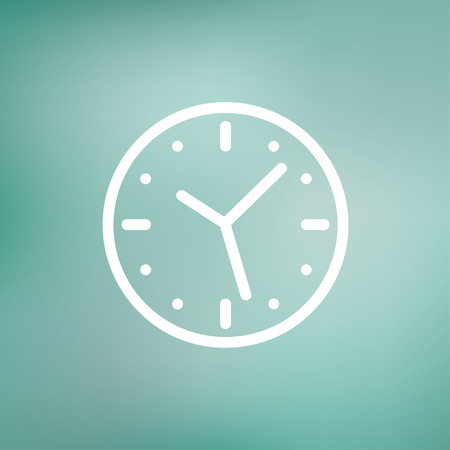Clock icon thin line for web and mobile, modern minimalistic flat design. Vector white icon on gradient  mesh background. Imagens - 38594763