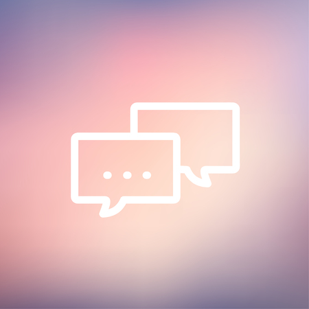 Chat icon thin line for web and mobile, modern minimalistic flat design. Vector white icon on gradient  mesh background.