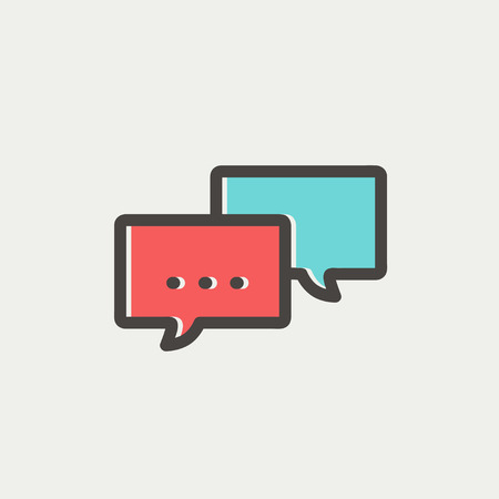 discussion forum: Chat icon thin line for web and mobile, modern minimalistic flat dersign. Vector icon with dark grey outline and offset colour on light grey background. Illustration