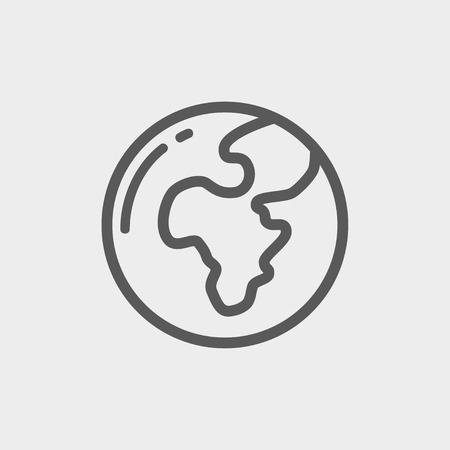 flat earth: Globe icon thin line for web and mobile, modern minimalistic flat design. Vector dark grey icon on light grey background.