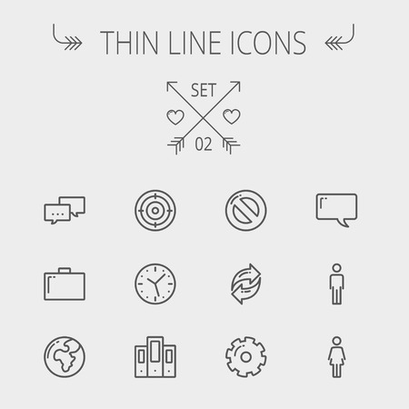 people network: Technology thin line icon set for web and mobile. Set includes - chat, goal, clock, globe, gear, man, woman icons. Modern minimalistic flat design. Vector dark grey icon on light grey background.