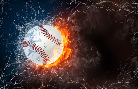 Softball ball on fire and water with lightening around on black background. Horizontal layout with text space. Stock Photo