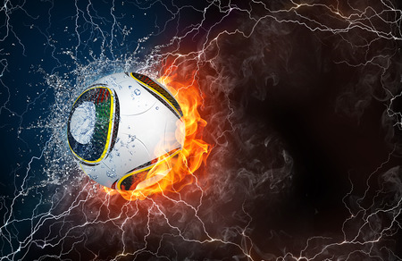 fastball: Football on fire and water with lightening around on black background. Horizontal layout with text space.