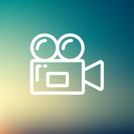 video camera icon: Video camera icon thin line for web and mobile, modern minimalistic flat design. Vector white icon on gradient  mesh background.