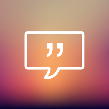 symbol  punctuation: Speech bubble with punctuation symbol icon thin line for web and mobile, modern minimalistic flat design. Vector white icon on gradient  mesh background.