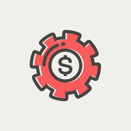 Money with gear icon thin line for web and mobile, modern minimalistic flat design. Vector icon with dark grey outline and offset colour on light grey background. Ilustração