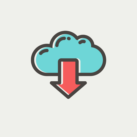 downloading content: Cloud with arrow down icon thin line for web and mobile, modern minimalistic flat design. Vector icon with dark grey outline and offset colour on light grey background.