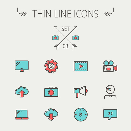 Technology thin line icon set for web and mobile. Set includes - laptop, monitor,video camera, megaphone, web camera, gear, camera, clouds up and down. Modern minimalistic flat design. Vector icon with dark grey outline and offset colour on light grey bac Illustration
