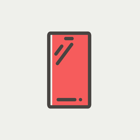 touchpad: Mobile phone icon thin line for web and mobile, modern minimalistic flat design. Vector icon with dark grey outline and offset colour on light grey background.