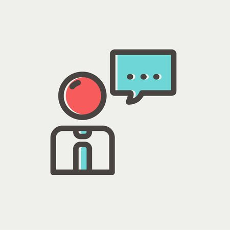 conversing: Businessman with speech bubble icon thin line for web and mobile, modern minimalistic flat design. Vector icon with dark grey outline and offset colour on light grey background.