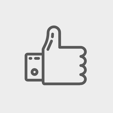 confirmed: Thumbs up icon thin line for web and mobile, modern minimalistic flat design. Vector dark grey icon on light grey background. Illustration