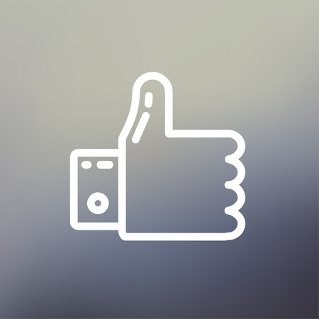 confirmed: Thumbs up icon thin line for web and mobile, modern minimalistic flat design. Vector white icon on gradient mesh background. Illustration