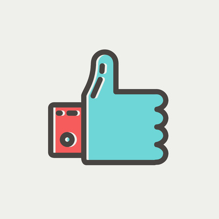 offset up: Thumbs up thin line for web and mobile, modern minimalistic flat design. Vector icon with dark grey outline and offset colour on light grey background. Illustration