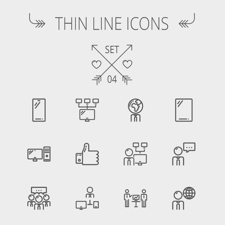 computer cpu: Technology thin line icon set for web and mobile. Set includes - Mobile phone, gadget, computer, CPU, global. Modern minimalistic flat design. Vector dark grey icon on light grey background.