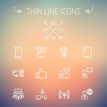 computer cpu: Technology thin line icon set for web and mobile. Set includes - Mobile phone, gadget, computer, CPU, global. Modern minimalistic flat design. Vector white icon on gradient mesh background. Illustration
