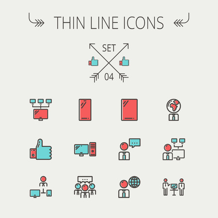 computer cpu: Technology thin line icon set for web and mobile. Set includes - Mobile phone, gadget, computer, CPU, global. Modern minimalistic flat design. Vector icon with dark grey outline and offset colour on light grey background Illustration