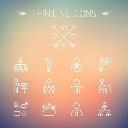 e commerce icon: Business thin line icon set for web and mobile. Set includes- laptop, tablet, computer, globe, Businessmen, men, cloud. Modern minimalistic flat design. Vector white icon on gradient mesh background.