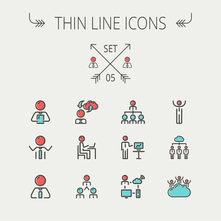 e commerce icon: Business thin line icon set for web and mobile. Set includes- laptop, tablet, computer, globe, Businessmen, men, cloud. Modern minimalistic flat design. Vector icon with dark grey outline and offset colour on light grey background. Illustration