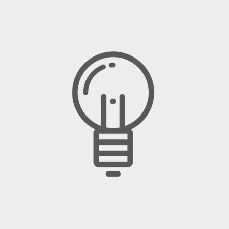 thin bulb: Light bulb icon thin line for web and mobile, modern minimalistic flat design. Vector dark grey icon on light grey background.