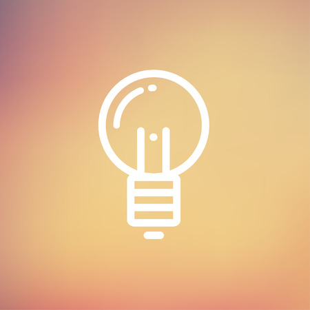 Light bulb icon thin line for web and mobile, modern minimalistic flat design. Vector white icon on gradient mesh background.