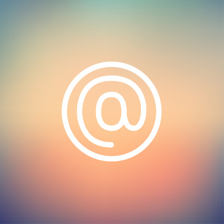 email icon: e-mail internet icon thin line for web and mobile, modern minimalistic flat design. Vector white icon on gradient mesh background.