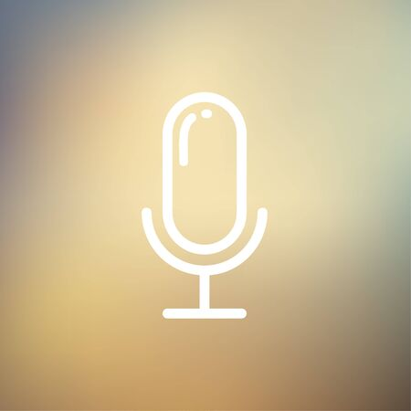 retro microphone: Retro microphone icon thin line for web and mobile, modern minimalistic flat design. Vector white icon on gradient mesh background.