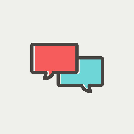 chat bubbles: Two speech bubbles icon icon thin line for web and mobile, modern minimalistic flat design. Vector icon with dark grey outline and offset colour on light grey background.