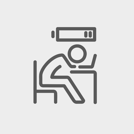 potential: Businessman in low power icon thin line for web and mobile, modern minimalistic flat design. Vector dark grey icon on light grey background.